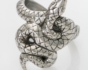 Highly-carved Sterling Silver Snake Ring Coils Expressively Around Your Finger