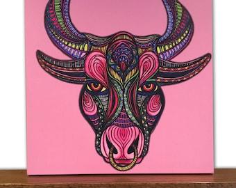 Animal Canvas Art - Bull Wall Art - Home Decor - Taurus - Zodiac Sign - Tribal Art - Drawing - Markers