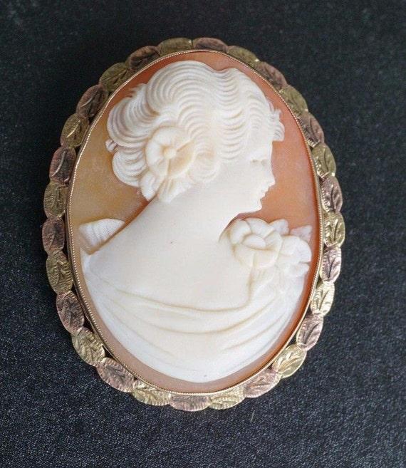 Vintage Carved Shell Cameo Brooch in 10K Yellow and Rose Gold Folding Bale Leaf Frame OG075