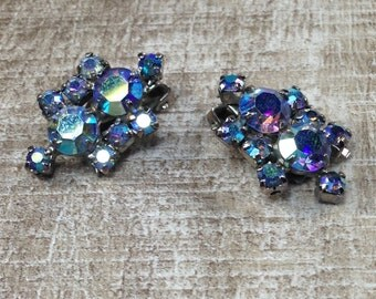 Sparkling Blues Vintage AB Colorful Rhinestone Sparkle Silver Tone Clip On Earrings