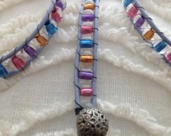 Beaded Leather Wrap Bracelet