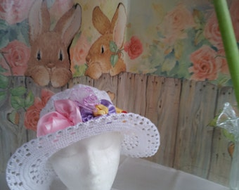 Crochet womens brim summer hat, white wide brim summer hat, white crochet summer hat