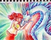 You Saved Me! - Spirited Away - Original Drawing