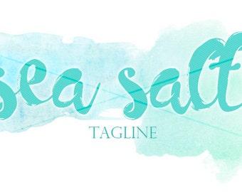 Sea Salt Premade Blog Header   Watercolor   Premade Logo