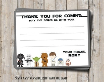 Star Wars thank you card personalized with your child's name - digital / printable DIY Star Wars card