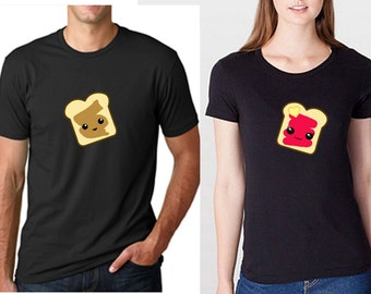Peanut butter jelly couple shirts in various color - couple shirt, couples shirt, cute shirt, kawaii shirt, peanut butter shirt, jelly shirt