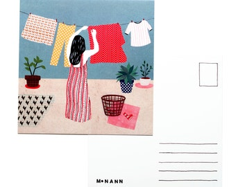 Illustration postcard - Laundry day