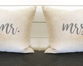 Mr. and Mrs. Pillow Set of 2 Pillow Covers