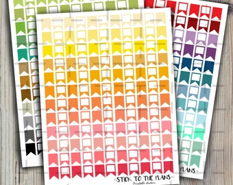 Flags printable planner stickers rainbow colors basic flags planner stickers basic planner elements for use with Erin Condren LifePlannerTM