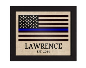 Gift for Police Officer, Badge Number, Thin Blue Line, Family Name Burlap Print, Police Print, American Flag, With EST Year