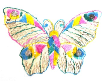 Butterfly Patch, 1930s vintage embroidered applique. Vintage patch, sewing supply. Applique, Crazy quilt. #643G125K16