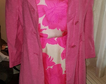 1960's Pink Floral Silk sheath dress and matching coat