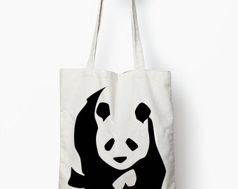 Panda tote bag, canvas tote, animal design tote