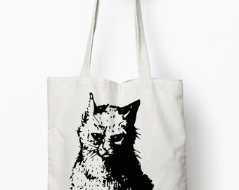 Grumpy cat tote bag, black cat bag, canvas tote bag