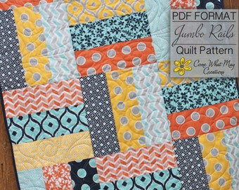 Baby Quilt Pattern, Lap Quilt Pattern, Jumbo Rails Baby Quilt Pattern, Rail Fence Quilt Pattern, Beginner Quilt Pattern, Easy Quilt Pattern