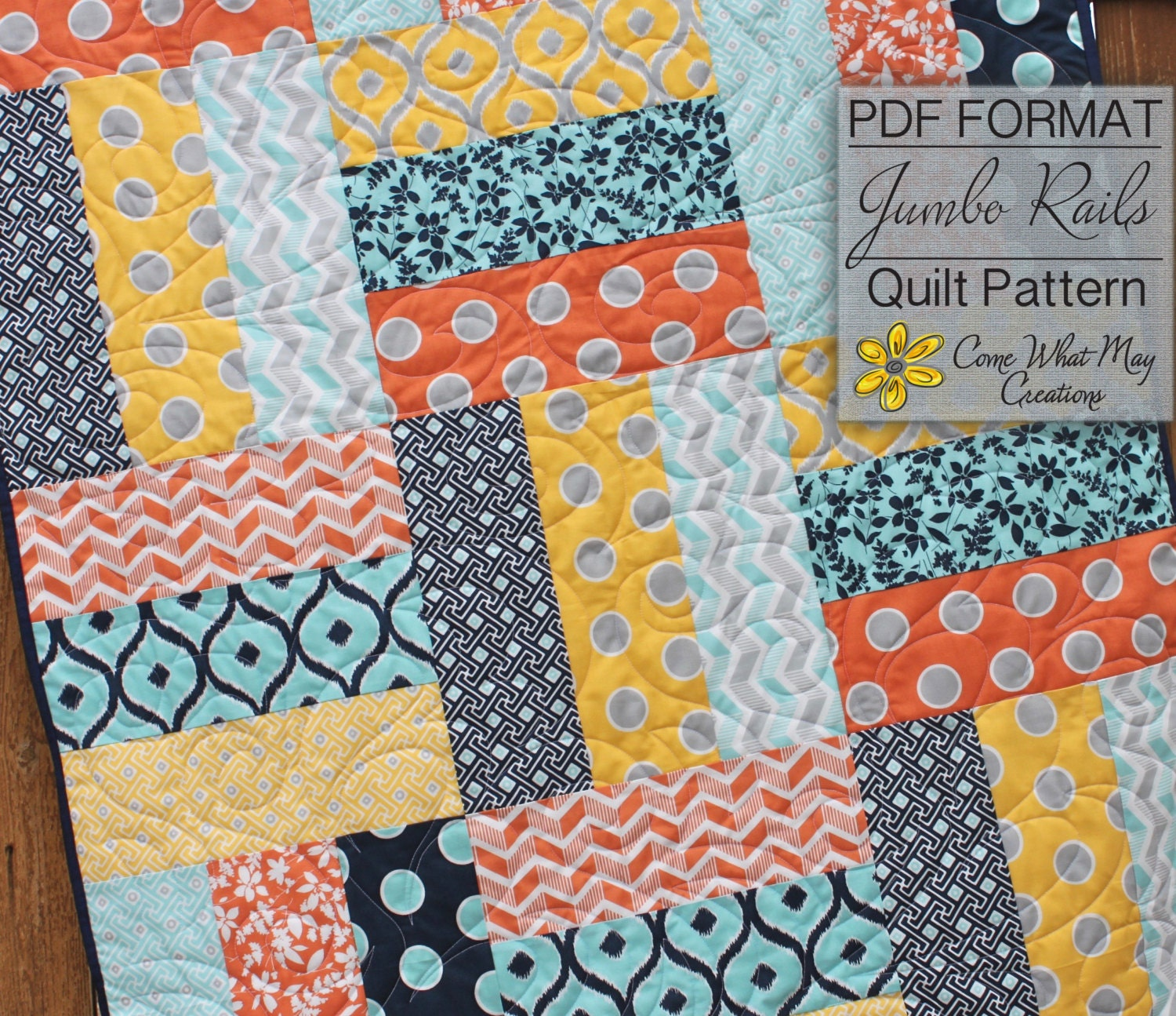 Easy Quilt Patterns Rail Fence : Baby Quilt Pattern, Lap Quilt Pattern, Jumbo Rails Baby Quilt Pattern, Rail Fence Quilt Pattern ...