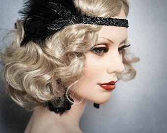 Art Deco Headpiece Flapper beaded Headband Feathers Fascinator 1920s  Great Gatsby 20's Roaring Twenties Vintage Headdress Black