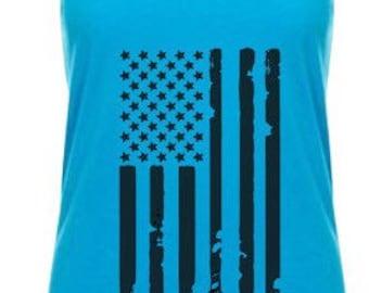 Womens American Flag Paint brush tops, tank tops for women, American Flag tees, Paint brush tank tops, Paint brush tshirt, Paint brush tees