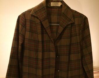 Vintage Pendleton women's virgin wool brown blazer