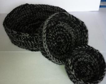 Crochet Bowls,  Storage Bowls,  Set of 3 bowls,  Crochet Storage Bowls, Nesting Bowls