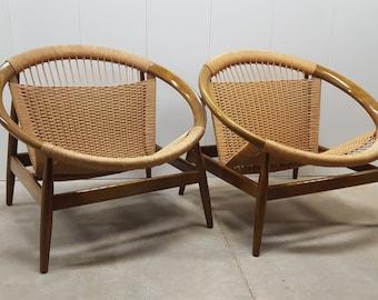 FREE SHIPPING! Rare Authentic Pair of Illum Wikkelso Ringstol Model 23 Hoop Chairs for Niels Eilersen : Made in Denmark, Danish Modern