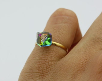 50% OFF Cube Glass Rock, Prim Crystal, Color Changing Ring