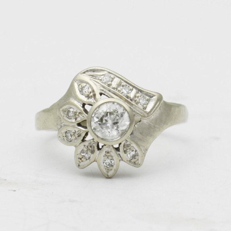 Antique Flower Diamond Engagement Ring 14k Gold by BullionDiamond