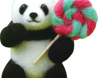Needle Felting Kit Panda Wool Felt By Sunfelt  FFK007