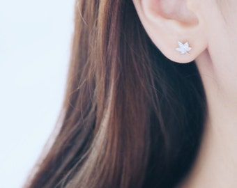 Maple Leaf Earrings, CZ Leaf Earrings, Leaf Earrings, Crystal Leaf Earrings, Small Leaf Earrings, Leaf Jewelry, Tiny Leaf Earrings
