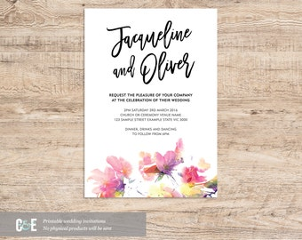 Watercolour Modern Wedding Invitation Printable PDF