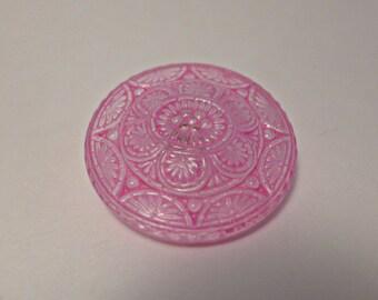 Large Czech glass buttons - handpainted pink - 32 mm