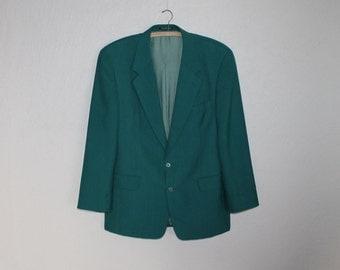 Men's Sport Coat Sea Green Wool  Blend Blazer Preppy Green Jacket Urban Casual Hipster Boyfriend Suit Jacket Gift Size Large Size
