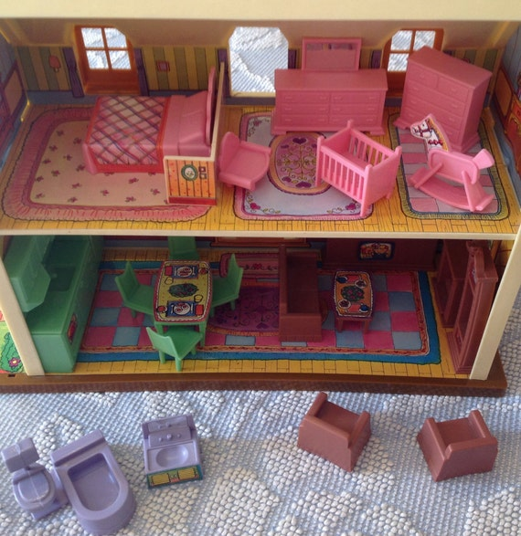 Vintage Dollhouse With Furniture Plastic Doll House And
