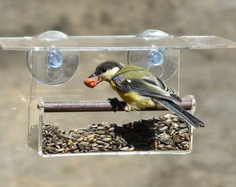 Window bird feeder, Gift for mum, Clear Feeder For Bird Watching From Home, Outdoor, Nature