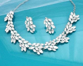 Bridal necklace set, Crystal necklace set, Wedding jewelry set, Necklace & earring set, Bridal jewelry, Bridesmaid necklace set 1S0137