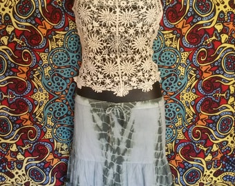 Tye Dye and Lace Festival Gypsy Boho Skirt