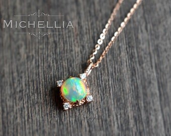 14/18K Aurora Opal Necklace, Ethiopian Fire Opal Necklace, Gold Opal Pendant, Interstellar Universe Galaxy Necklace, Natural Opal, Rose Gold