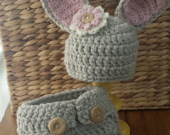 Crochet Bunny Hat and Diaper Cover Set - Photo Prop - Newborn, 3-6, 6-12 months available - Custom colors available