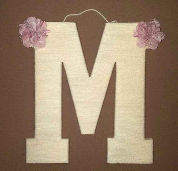 Nursery Letter M, Ivory Yarn Letter, Custom Bow, Kids Room