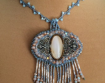 """Necklace beads embroidered """"glacier"""""""