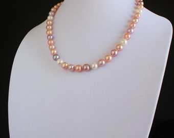 Multi Pastel 10mm Freshwater Pearl Necklace