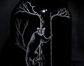 Mountain lion growler, engraved mountain lion growler, cougar growler, engraved cougar, engraved growler, mountain lion gift, cougar gift
