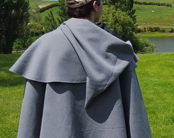 Hooded Cloak with Half Cape, Wool-Blend - Clasp Variations Available - Ideal for LARP, Cosplay, Fantasy, or Medieval Costumes