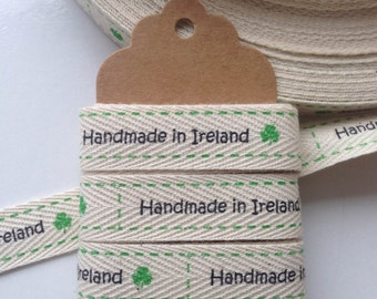 Handmade in Ireland Cotton Printed Ribbon #ER18