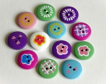 12 Mixed Wooden Buttons