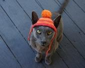 Cat Beanie, Cat Hat, Photo Prop, Crochet, Red, Orange, Pure Cotton, Pom Pom Beanie, Pet Gift