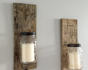 Mason Jar Wall Sconce Candle Holder