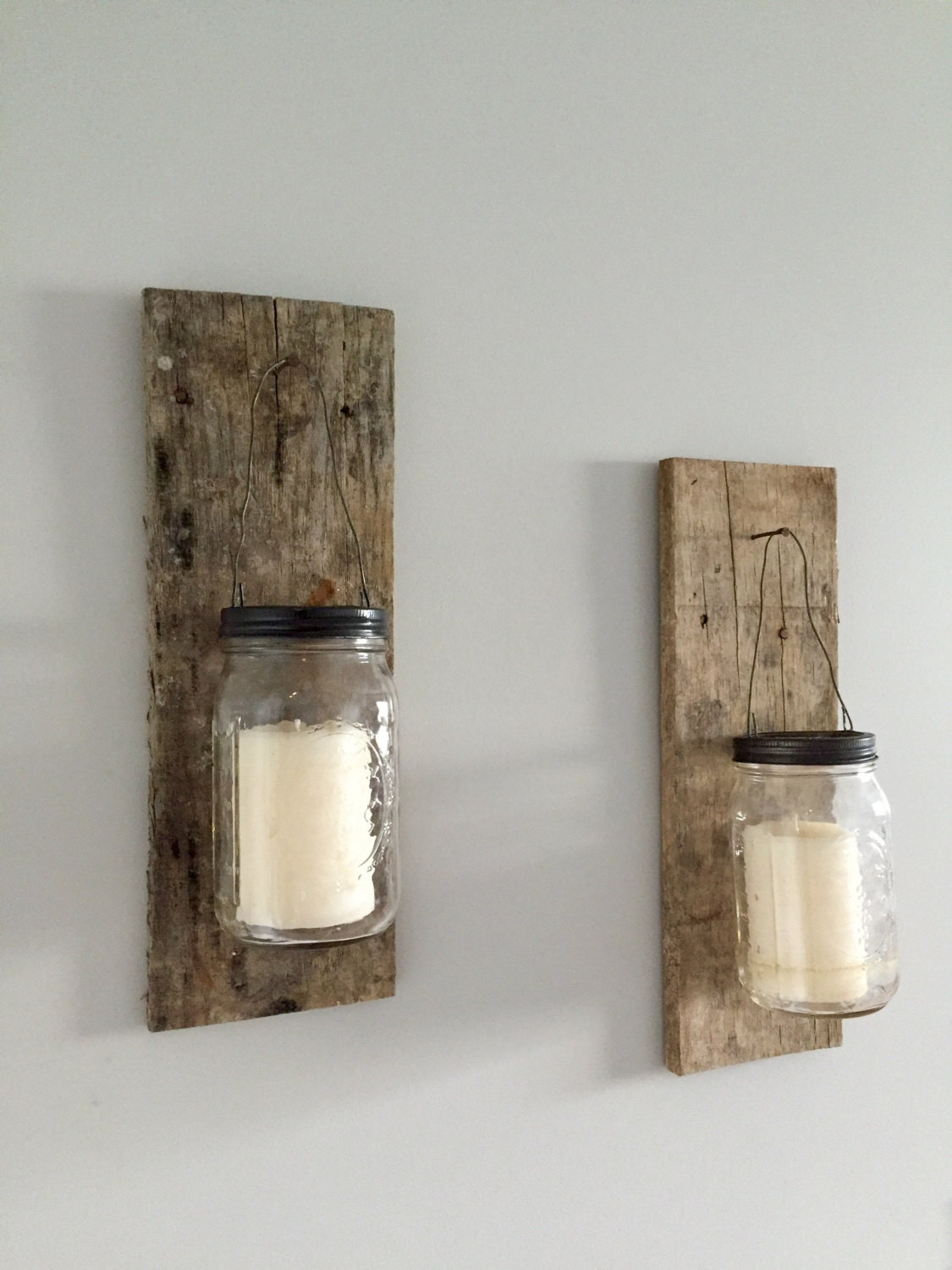mason jar wall sconce candle holder. Black Bedroom Furniture Sets. Home Design Ideas