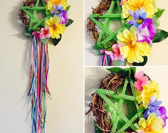 Handmade PAGAN PRIDE Floral Pentacle Wreath - Wicca Witchcraft Witch Home Decoration