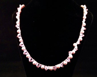 Pink Crocheted Swarovski Necklace